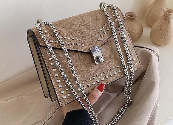 Scrub Leather Chain Rivet Lock Shoulder Bag