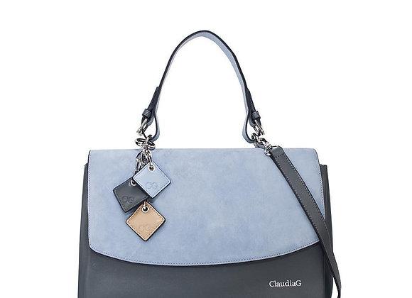 Simonetta Leather Handbag -Serenity / Charcoal