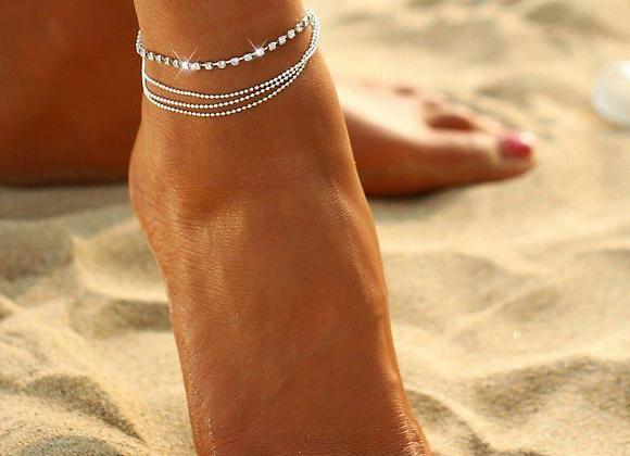 Multi Row Crystal Chain Anklet Ankle Bracelet
