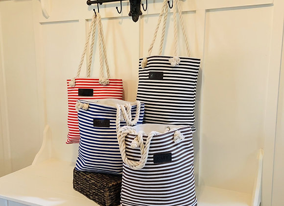 Striped Canvas Tote Bag