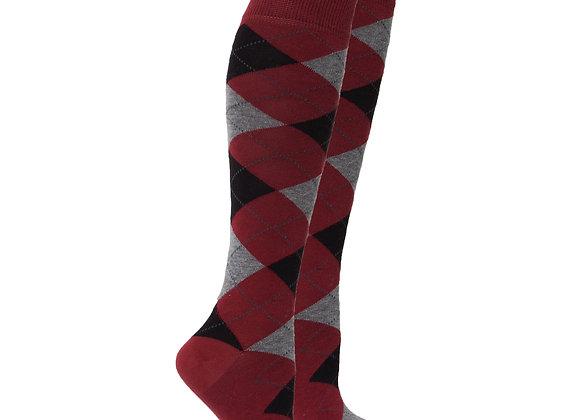 Women's Wine Argyle Knee High Socks