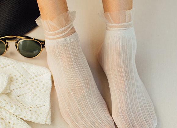 Fashion Lace Socks Solid Color Women Soft Breathable Cute Long Mesh Thin Socks