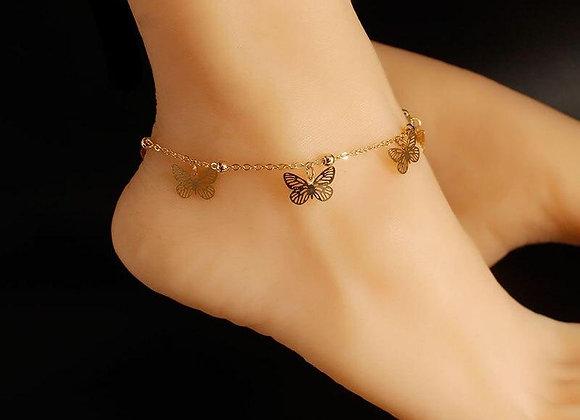 Gold Butterfly Anklet Ankle Bracelet