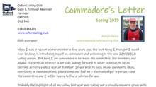 Commodore's Spring Letter and a look forward to the new season