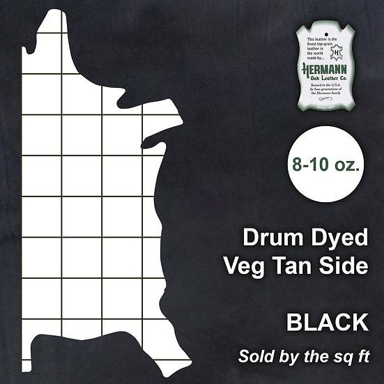Полукожник HERMANN OAK DRUM DYED BLACK VEG TAN 8-10 OZ.