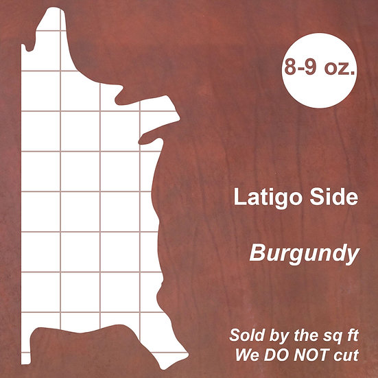 Кожа Латиго LATIGO SIDE - BURGUNDY, 8-9 OZ