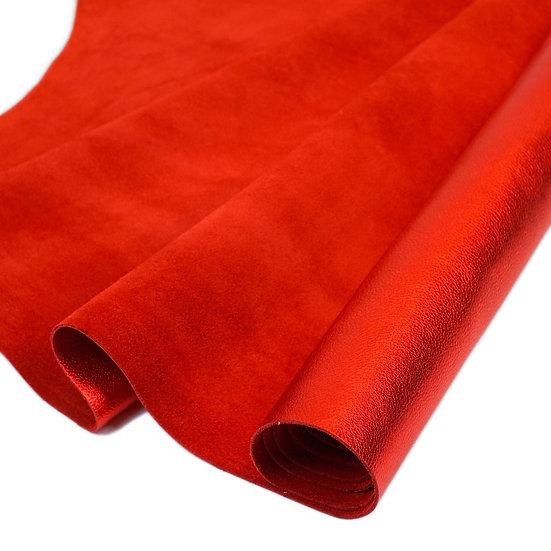 Полукожник SIDE OF METALLIC LAMBA IN RED