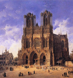Reims-Cathedral-Domenico-Quaglio-oil-pai