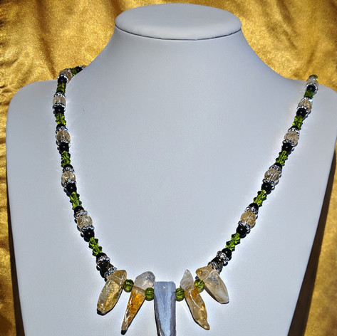 Blue Lace Agate and Citrine Necklace