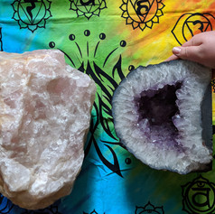 Rose Quartz and Ameythyst Geode