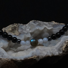 Labradorite, Blue Lasce Agate and Black Tourmaline Bracelet
