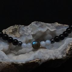 Labradorite, Blue Lasce Agate and Black Tourmaline Bracelet