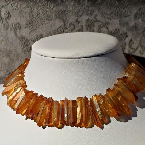 Tangerine Aura Quartz Necklace