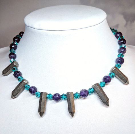 Spring Collection 2019 Faceted Amethyst and Pyrite