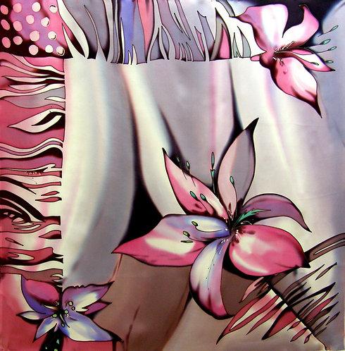 """Шелковый платок """"Тигровая лилия"""", 90х90, 100% шелк"""