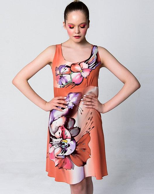 """Шелковое платье """"Виола"""" в персиковых тонах"""