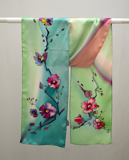 """Шелковый шарф """"Сакура"""" (зеленый-мята), ручная роспись, 20х175, 100%"""