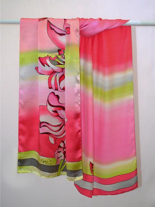 """Шелковый шарф """"Тюльпан"""" 45х175, 100% шелк, ручная роспись"""