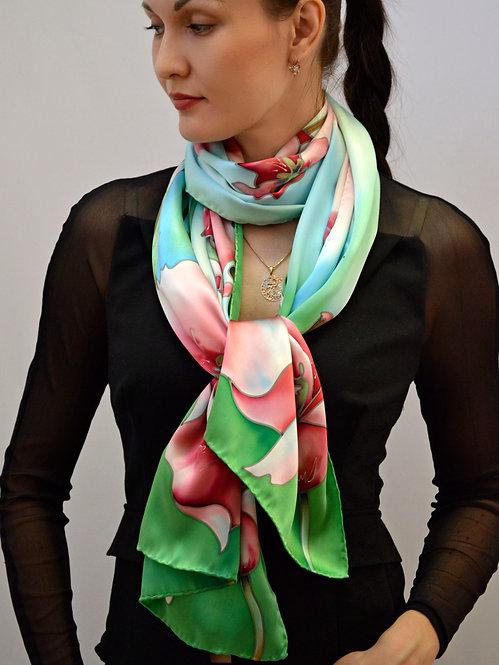 """Шелковый шарф """"Тринити"""" 45х175, 100% шелк, ручная роспись"""
