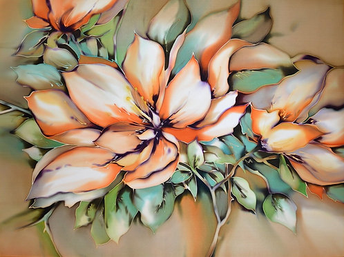 "Картина ""Яблоневый цвет"", ручная роспись, 100% шелк, 50х70"