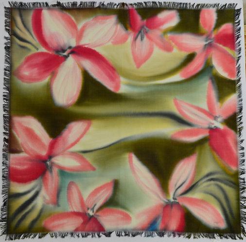 """Шерстяной платок с ручной росписью (коллекция """"Цветы""""), 110х110, 100% шерсть"""