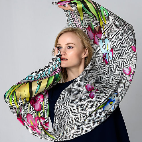 "Шелковый шарф ""Ирисы"", 40х175, 100% шел"