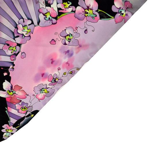 """Шелковая косынка """"Орхидеи"""" 90х90, 100% шелк"""