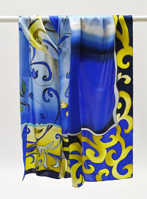 """Шелковый шарф """"Царица"""" (55 х 175) ручная роспись, 100% шелк"""
