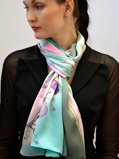 """Шелковый шарф """"Орхидеи"""" 45х175, 100% шелк, ручная роспись"""