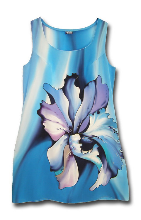 "Блуза ""Тайский цветок"" в небесно-голубых тонах"