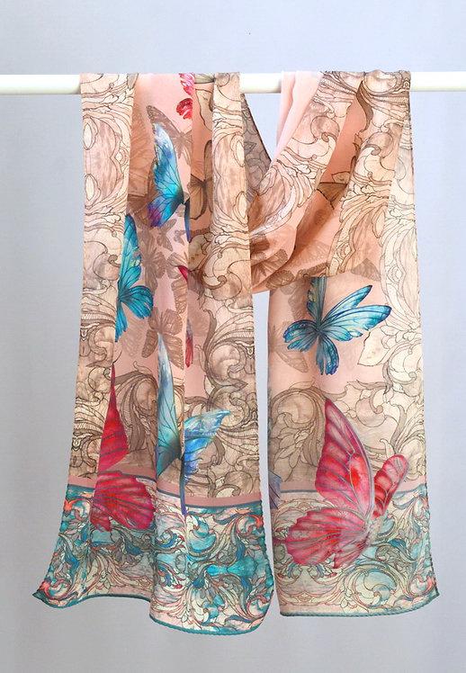 "Шелковый шарф ""Розовый перламутр"", 40х175, 100% шелк"