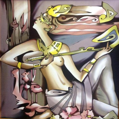 """Картина """"Египетские мотивы"""", ручная роспись, 100% шелк,70х70"""