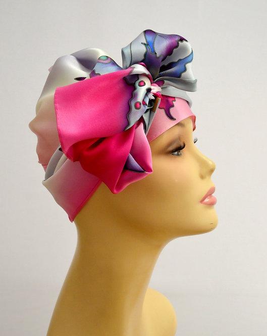 """Шелковый шарф """"Бабочки"""" (жемчужно-розовый), ручная роспись, 20х175, 100% шелк"""