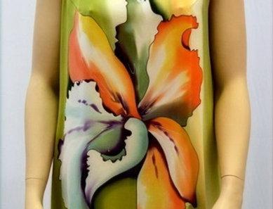 """Шелковое платье-туника """"Тайский цветок"""" в салатово-оранжевых тонах"""