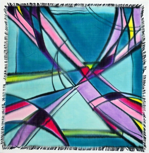"""Шерстяной платок с ручной росписью (коллекция """"Граффити""""), 110х110, 100% ш"""