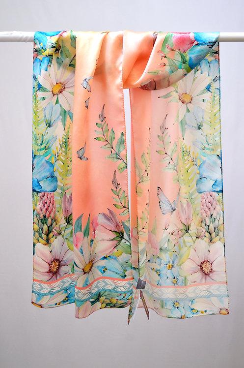 """Шелковый шарф """"Летний сад"""", 40х175, 100% шелк"""