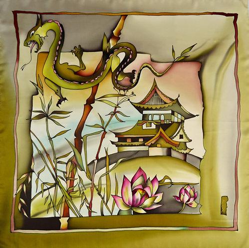 """Шелковый платок """"Китай"""" (90 х 90), ручная роспись, 100% шел"""