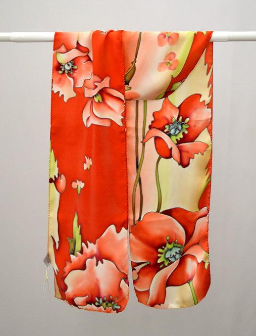 """Шелковый шарф """"Маки"""" (терракотовый), ручная роспись, 20х175, 100"""