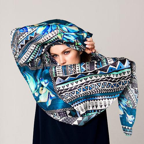 """Шелковый шарф """"Мелодия синего"""" 40х175, 100% шелк"""