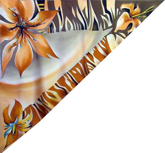 """Шелковая косынка """"Гармония цветов"""" 90х90, 100% шелк"""