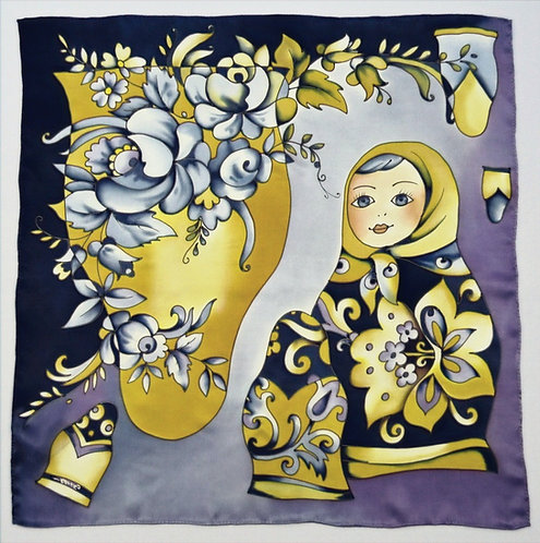 "Шелковый платок ""Хоровод"" (70х70), ручная роспись, 100% шелк"