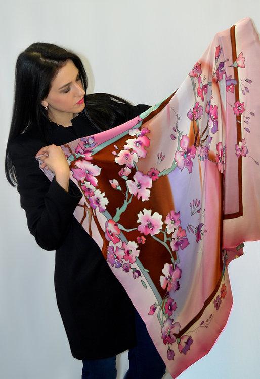 """Шелковый платок """"Весна в Токио"""" (114х114), ручная роспись"""