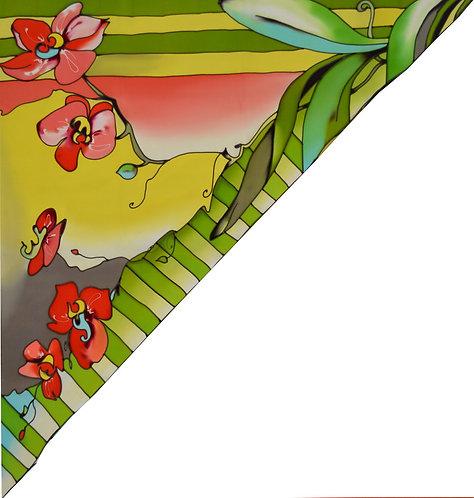 """Шелковая косынка """"Сад орхидей"""" 70х70, 100% шелк"""