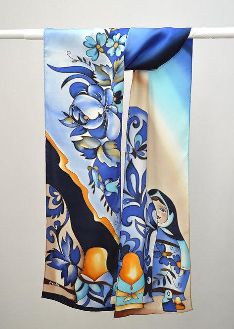"""Шелковый шарф """"Матрешки"""" ( сине-голубой), ручная роспись, 20х175, 100"""