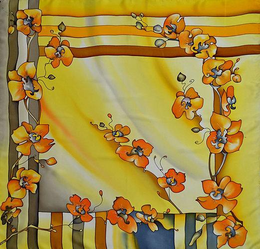 """Шелковый платок """"Орхидеи"""", 90х90, ручная роспись"""