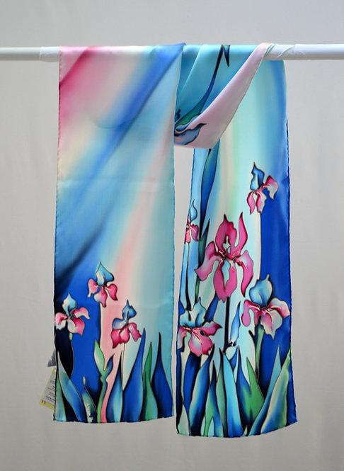 """Шелковый шарф """"Ирисы"""" (сине-розовый), ручная роспись, 20х175, 100% шелк"""
