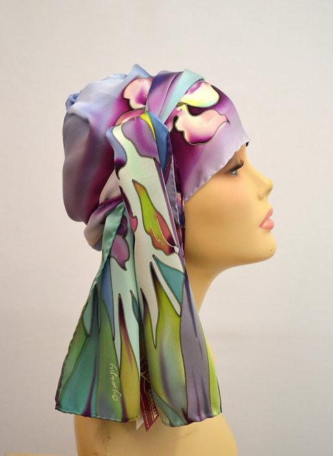 """Шелковый шарф """"Ирисы"""" (сиреневый), ручная роспись, 20х175, 100%"""