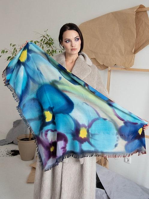 """Шерстяной платок в синих тонах (коллекция """"Цветы""""), 110х110, 100% шерсть"""