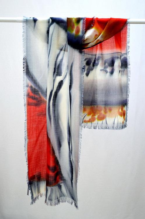 Шерстяной шарф, 45х175, ручная роспись (коллекция Animal,№16)