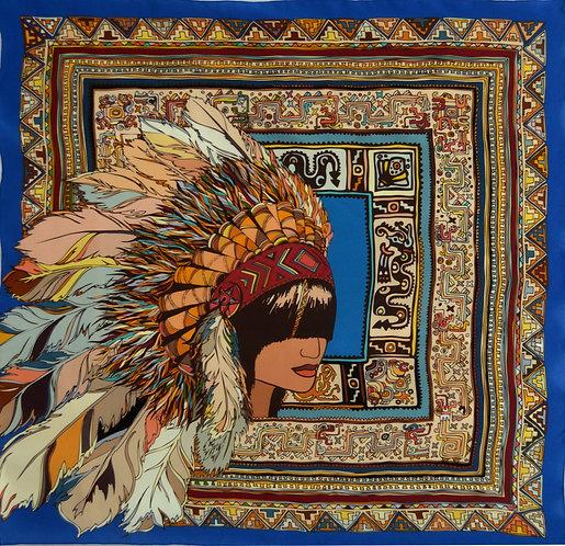"Шелковый платок ""Индеец"", 90х90, 100% шелк"